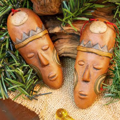 Ceramic ornaments, 'Charming Masks' (pair) - Ceramic Mask Ornaments in Brown from Mexico (Pair)