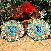 Ceramic ornaments, 'Blue Suns' (pair) - Blue Ceramic Sun Ornaments from Mexico (Pair)