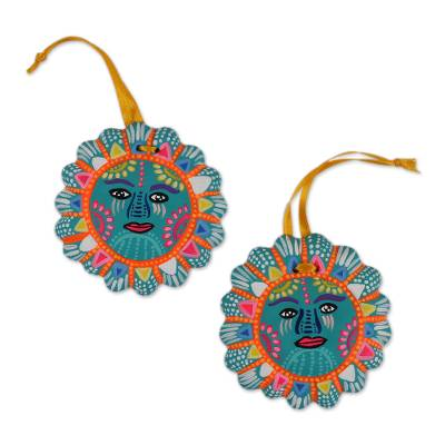 Blue Ceramic Sun Ornaments from Mexico (Pair)