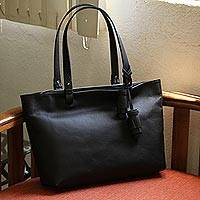 Leather shoulder bag, 'Black Delight' - Handmade Leather Shoulder Bag in Black from Mexico