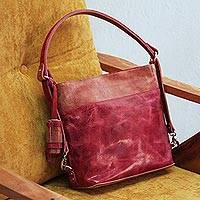 Leather shoulder bag, 'Elegant Castellan' - Leather Shoulder Bag in Wine and Rosewood from Mexico