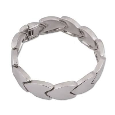 High-Polish Sterling Silver Link Bracelet from Mexico