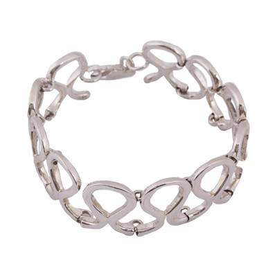 Drop Motif Taxco Sterling Silver Link Bracelet from Mexico