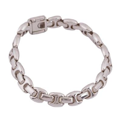 Artisan Crafted Sterling Silver Link Bracelet from Mexico