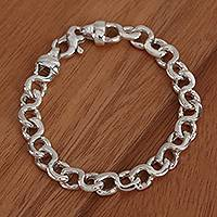 Sterling silver link bracelet, 'Infinity Links' - Taxco Sterling Silver Link Bracelet from Mexico
