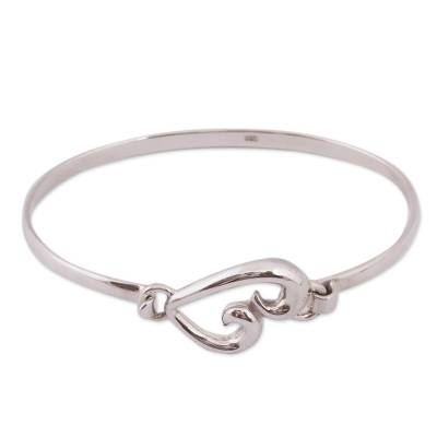 Taxco Sterling Silver Heart Bangle Bracelet from Mexico