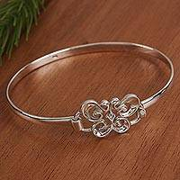 Sterling silver bangle bracelet, 'Butterfly Curl' - Taxco Sterling Silver Butterfly Bangle Bracelet from Mexico
