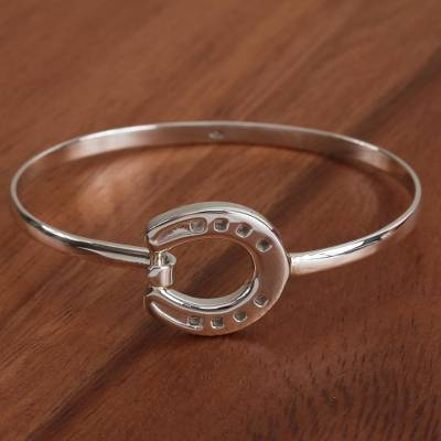 Sterling silver pendant bracelet, 'Beautiful Horseshoe' - Taxco Sterling Silver Horseshoe Pendant Bracelet from Mexico