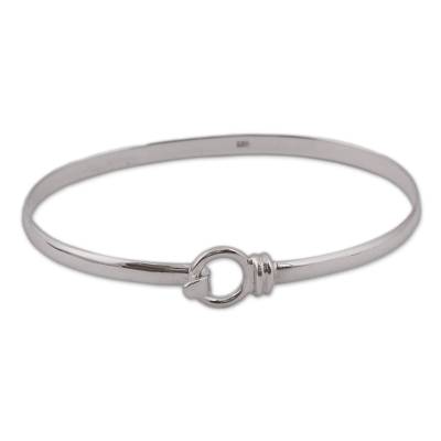 Artisan Crafted Sterling Silver Bangle Bracelet from Mexico