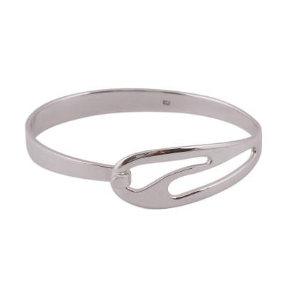 Modern Sterling Silver Bangle Bracelet from Mexico