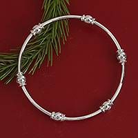 Sterling silver bangle bracelet, 'Six Beads' - Gleaming Sterling Silver Bangle Bracelet from Mexico