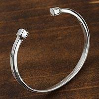 Sterling silver cuff bracelet, 'Beginning and End' - High-Polish Sterling Silver Cuff Bracelet from Mexico