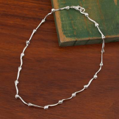 Sterling silver link necklace, 'Radiant Buds' - Gleaming Sterling Silver Link Necklace from Mexico