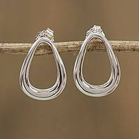 Sterling silver drop earrings, 'Modern Pears' - Pear-Shaped Sterling Silver Drop Earrings from Mexico