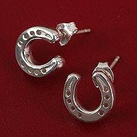 Sterling silver drop earrings, 'Beautiful Horseshoes' - Sterling Silver Horseshoe Drop Earrings from Mexico