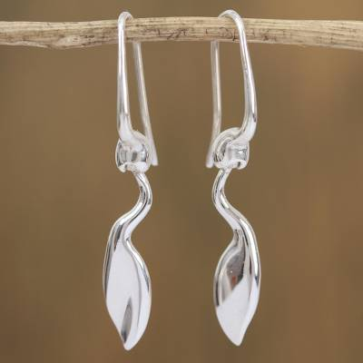 Sterling silver dangle earrings, Shape of Nature
