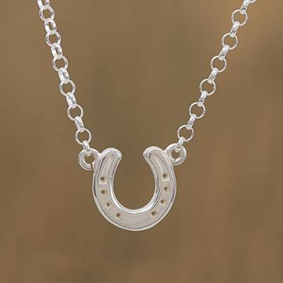 Sterling silver pendant necklace, 'Beautiful Horseshoe' - Sterling Silver Horseshoe Pendant Necklace from Mexico