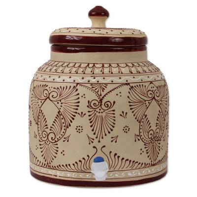 Hand-Painted Ceramic Beverage Dispenser from Mexico