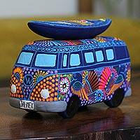 Ceramic bank, 'Surf's Up' - Hand-Painted Ceramic Bus Bank from Mexico