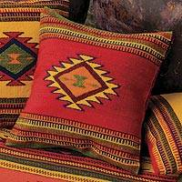 Wool cushion cover, 'Starburst' - Woven Wool Cushion Cover from Mexico