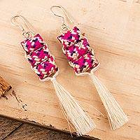 Palm fiber dangle earrings, 'Fingertraps' - Colorful Palm Fiber Dangle Earrings from Mexico