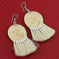 Palm fiber dangle earrings, 'Beautiful Baskets' - Circular Palm Fiber Dangle Earrings from Mexico