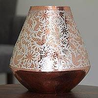 Silver accented copper vase, 'Gleaming Fauna' - Animal Motif Silver Accented Copper Vase from Mexico