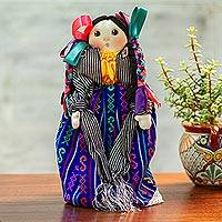 Cotton decorative Maria doll, 'Sweet Braids' - Handmade Cotton Decorative Display Maria Doll from Mexico