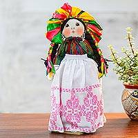 Cotton decorative Maria doll, 'Festive Mary' - Cotton Decorative Maria Doll in Festive Dress from Mexico