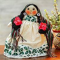 Cotton decorative doll, 'Embroidered Dress' - Cotton Decorative Doll with an Embroidered Dress from Mexico