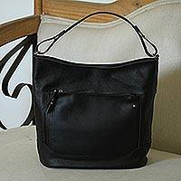 Leather tote, 'Feminine Beauty in Onyx' - Handmade Leather Tote in Onyx from Mexico