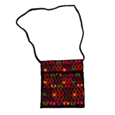 Cotton-Embroidered Wool Sling from Mexico