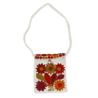 Floral Cotton-Embroidered Wool Sling from Mexico