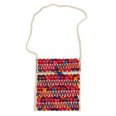 Cotton-Embroidered Wool Sling Handbag from Mexico