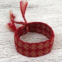 Cotton wristband bracelet, 'Taupe Fusion of Desire' - Handwoven Cotton Wristband Bracelet in Taupe and Claret