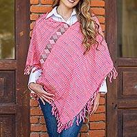 Cotton poncho, 'Fashionable Morning' - Cotton Poncho in Wheat and Cerise from Mexico