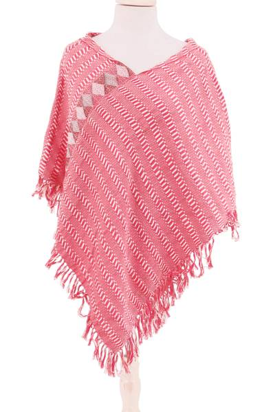 Cotton Poncho in Wheat and Cerise from Mexico