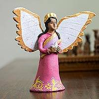 Ceramic sculpture, 'Angel with a Star' - Hand-Painted Ceramic Sculpture of an Angel with a Star