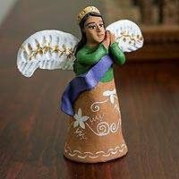 Ceramic sculpture, 'Sleepy Angel' - Hand-Painted Ceramic Angel Sculpture from Mexico