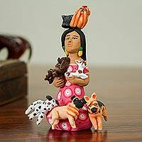 Featured review for Ceramic sculpture, Woman with Dogs