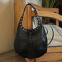 Leather shoulder bag, 'Relaxed Chic in Black' - Handcrafted Black Leather Hobo-Style Boho Chic Shoulder Bag
