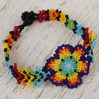 Glass beaded wristband bracelet, Colorful Huichol Flower