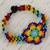 Glass beaded wristband bracelet, 'Colorful Huichol Flower' - Floral Glass Beaded Wristband Necklace from Mexico thumbail