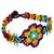 Glass beaded wristband bracelet, 'Colorful Huichol Flower' - Floral Glass Beaded Wristband Necklace from Mexico (image 2a) thumbail
