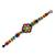 Glass beaded wristband bracelet, 'Colorful Huichol Flower' - Floral Glass Beaded Wristband Necklace from Mexico (image 2b) thumbail