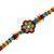 Glass beaded wristband bracelet, 'Colorful Huichol Flower' - Floral Glass Beaded Wristband Necklace from Mexico (image 2c) thumbail