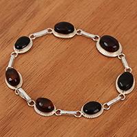 Amber link bracelet, 'Red Ovals' (Mexico)