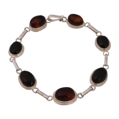 Oval Amber Link Bracelet Crafted in Mexico