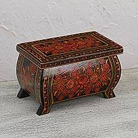 Wood decorative box, 'Curvy Floral' - Floral Motif Wood Decorative Box from Mexico