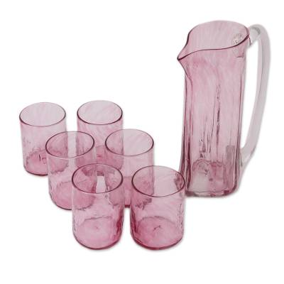 Recycled Glass Pitchers and Tumblers in Pink (Set for 6)